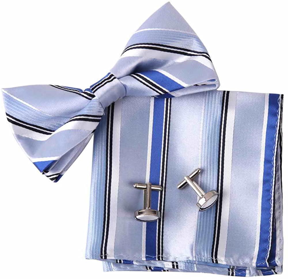 Epoint Mens Fashion Multicolored Silk Pre-tied Bowtie Cufflink Hanky Set
