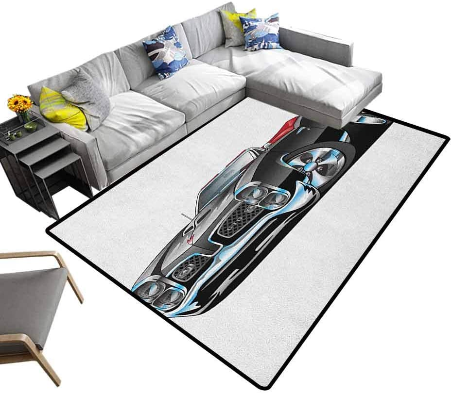 Traditional Area Rug Cars, Super Soft and Cozy Washable Carpet Fancy American Nostalgic Sports Muscle Car with Speeding Wheels Tires Symbol Print Decor Carpet Popular Colors Pale Grey Blue, 5 x 8 Feet