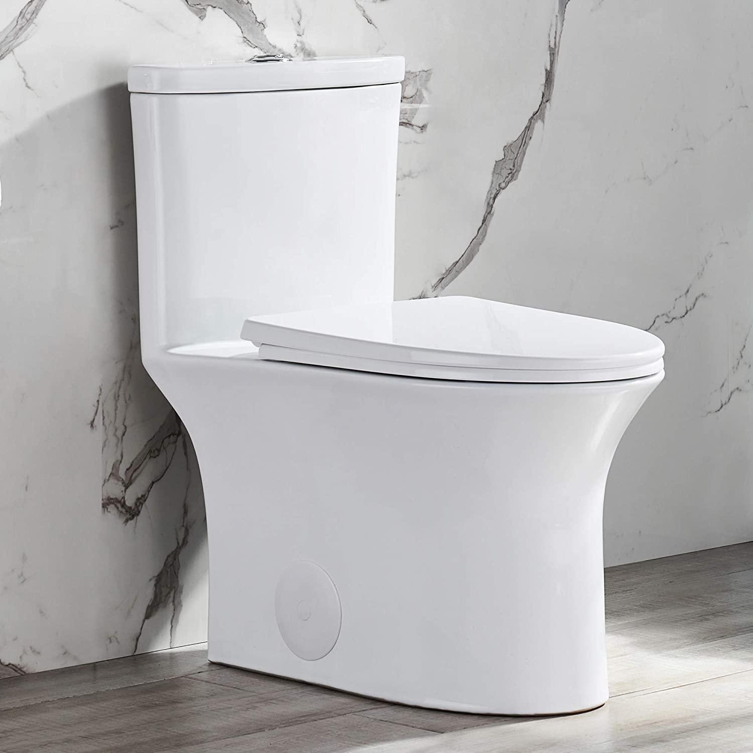 DeerValley DV-1F52676 Elongated One Piece Toilet, High Efficiency Dual Flush 0.8/1.28 GPF, Comfort Height with Soft Closing Seat White