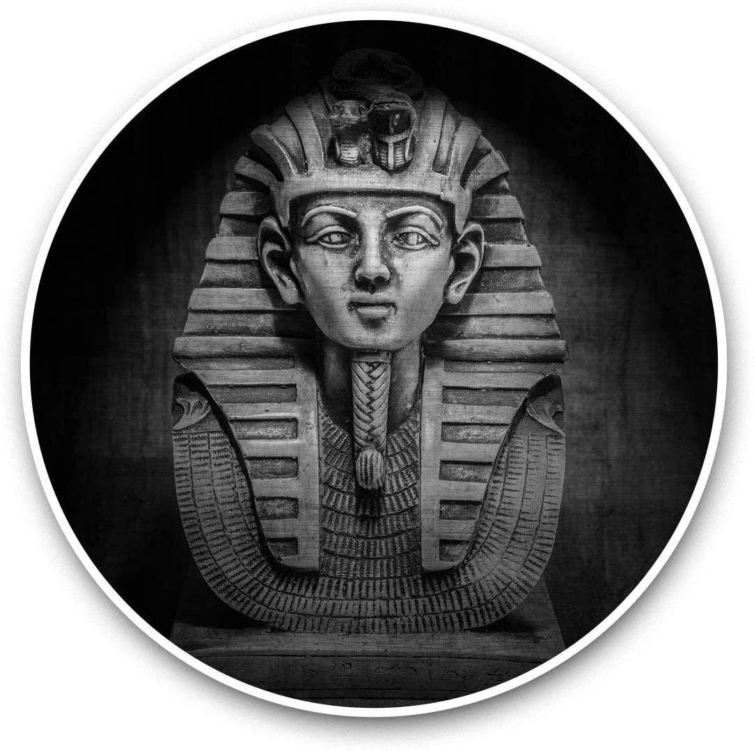 Awesome Vinyl Stickers (Set of 2) 7.5cm (bw) - Egyptian Pharaoh Tutankhamen Mask Fun Decals for Laptops,Tablets,Luggage,Scrap Booking,Fridges,Cool Gift #37019