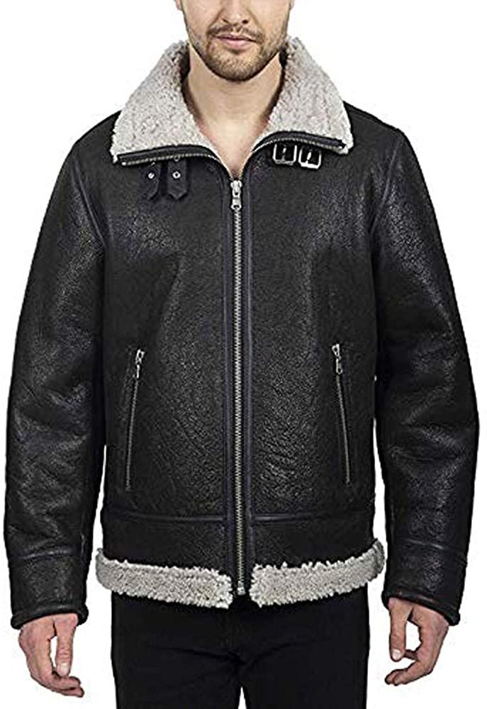 Men's Jacket Black Pure Shearling Sheepskin Zipper Closure Fur Fleece Lined Toggle Cover Windproof Buckle Collar Coat