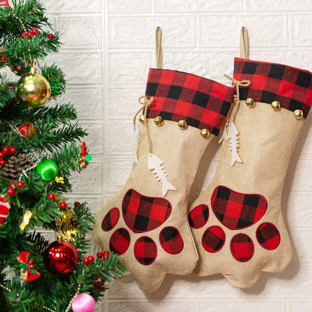 CHERPET Christmas Cat Stocking Hanger - Red&Black Plaid Personalized Burlap Large Cats Paw Stockings Bag with Fish Bone, Holiday Party Pet Gift Accessories for Puppy/Dogs/Kittens/Small Animals