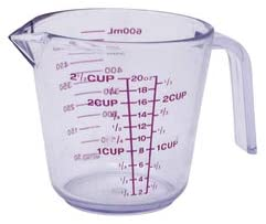 Il Piatto Thick Plastic 20 Ounce Measuring Cup | Bold, Easy to Read Markings – Measures Cups, Ounces, and Milliliters, Drip Free Spout, 2.5 Cup Capacity