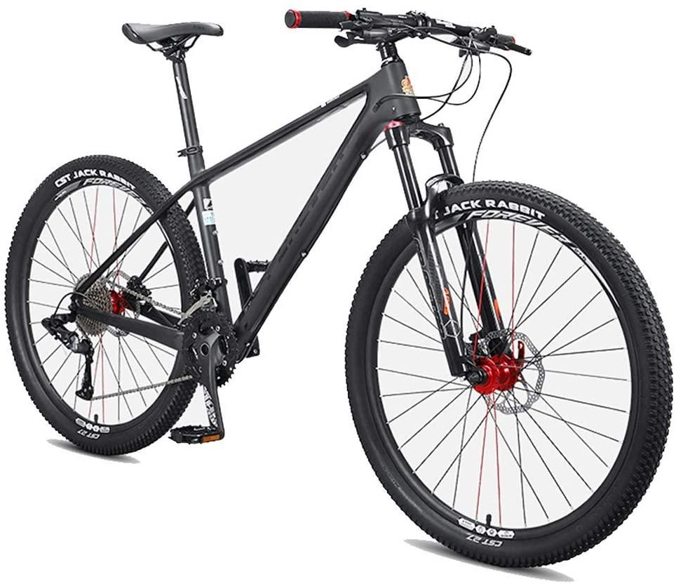 GONGFF Mens Mountain Bikes, 27.5 Inch Hardtail Mountain Trail Bike, Carbon Fiber Frame, Oil Disc Brake All Terrain Mountain Bicycle,33 Speed