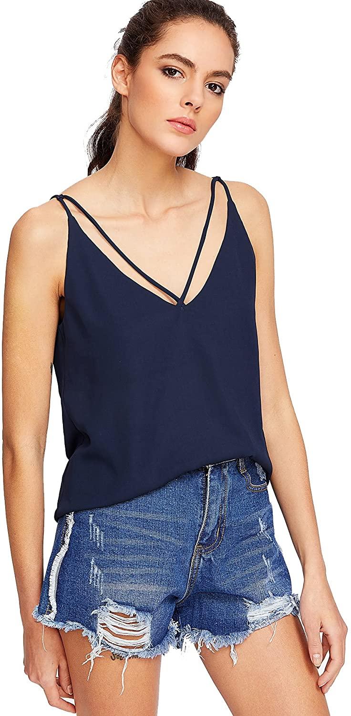 Milumia Women Cami Tops Basic Shirts V Cut Casual Halter Blouses