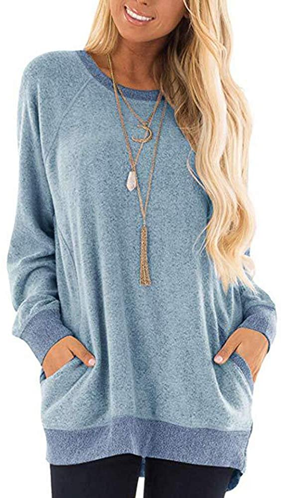 ZLINNAY Womens Casual Color Block Long Sleeve Round Neck Pocket Leopard T-Shirts Blouses Sweatshirts Pullover Fall Tee