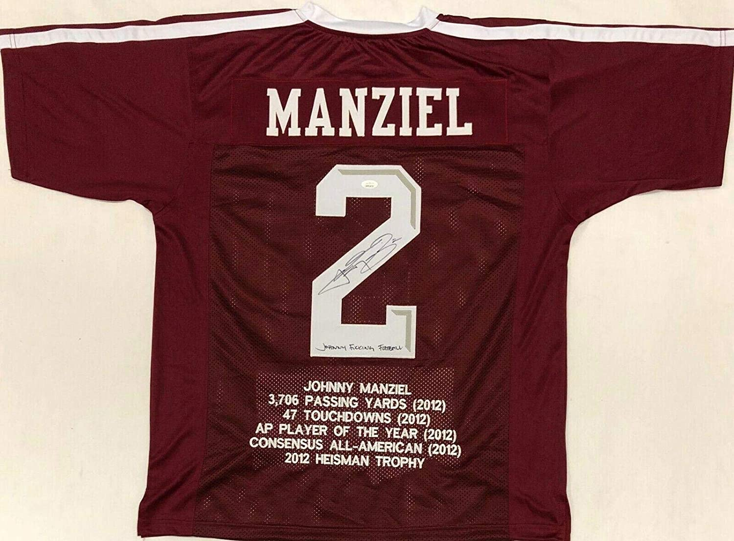 Johnny Manziel Signed Autographed Maroon Jersey JSA Johnny FN Football Stats - Autographed College Jerseys