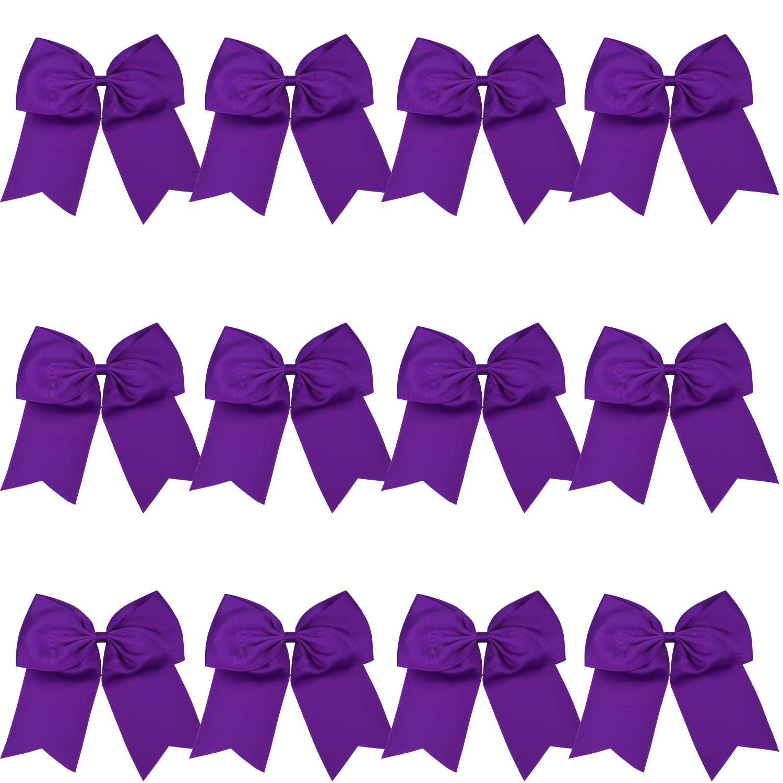 8 Inch Cheerleader Bows Ponytail Holder Cheerleading Bows Hair Tie(Purple)