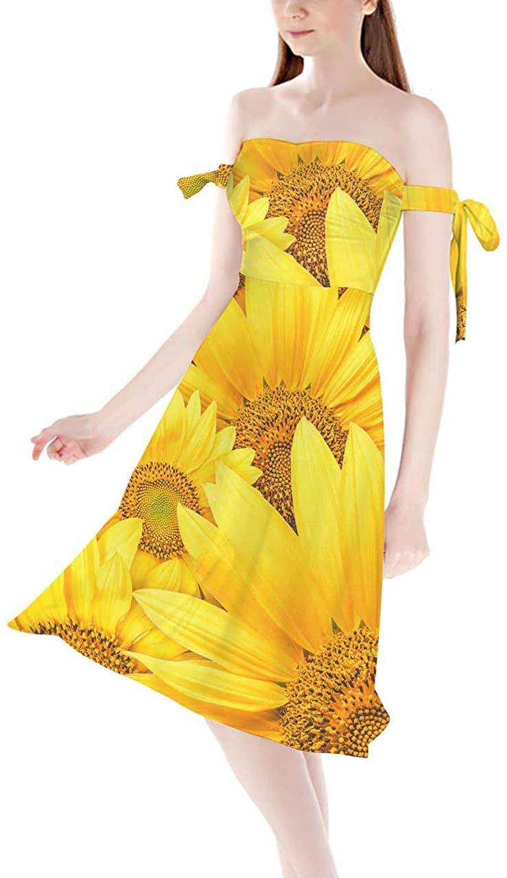Strapless Bardot Midi Dress - Sunflowers