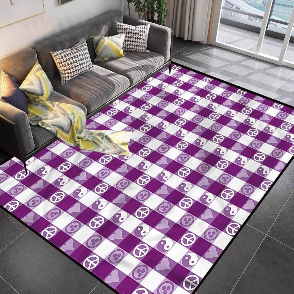 Area Rugs Print Large Carpet Plaid,Yin Yang Hearts Peace Carpet for Kids Yoga Living Room Home Decor Rugs 5'7