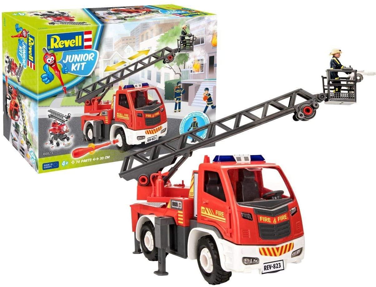Revell 00823 Turntable Ladder Fire Truck (1:20 Scale) Junior Kit, Red