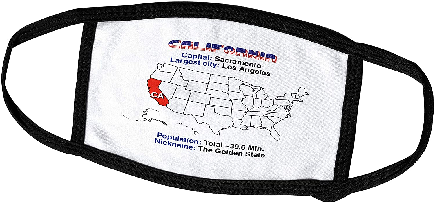 3dRose California State of The USA, American map, Useful, Interesting. - Face Covers (fc_306798_3)