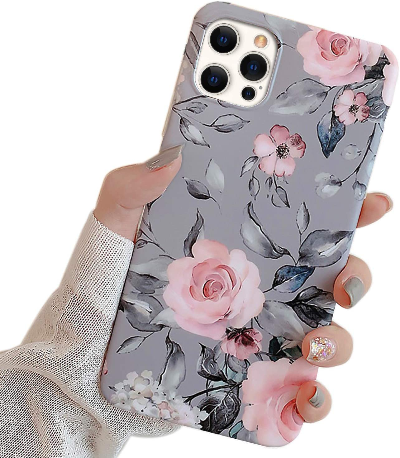 Ownest Compatible with iPhone 12 Pro Max Case with Purple Floral and Gray Leaves for Girls Woman Leaves with Flowers Pattern Soft TPU Protective for iPhone 12 Pro Max-Pink Flowers