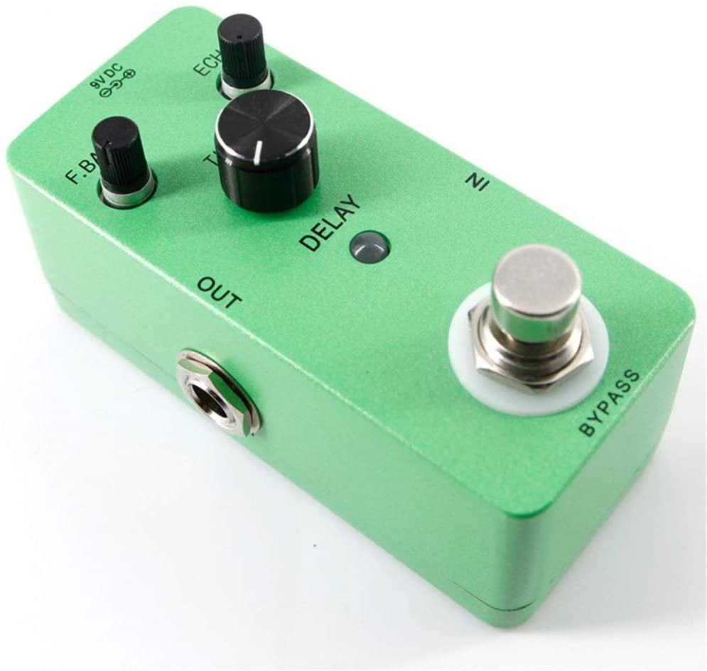 Teerwere Guitar Effect Processor Guitar Effect Pedal Mini Compact Size Delay Guitar Effect Pedal True Bypass with Adapter Guitar Tuning Accessories (Color : Green, Size : Free Size)