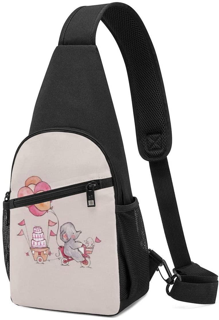 Pooizsdzzz Sling Bag - Happy Dumbo Crossbody Sling Backpack Travel Hiking Chest Bag Daypack for Women Men