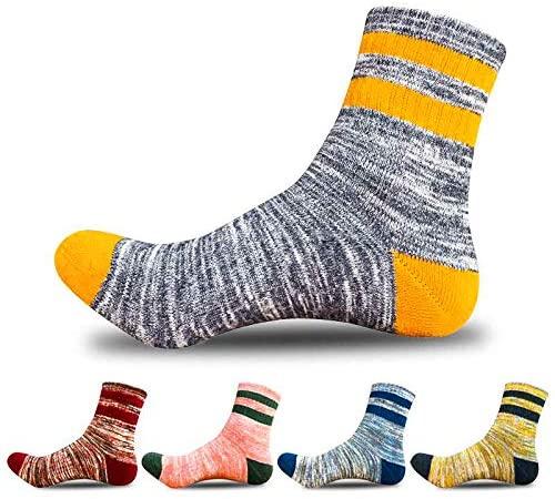 Women's Hiking Walking Socks, 5 Pairs Outdoor Recreation Wicking Cushion Crew Socks