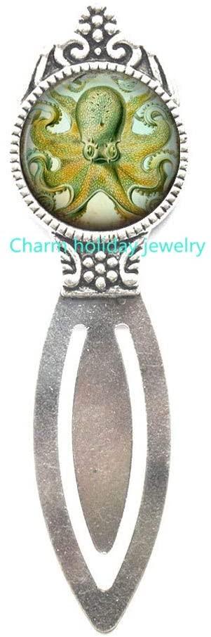 Octopus Bookmark,Nautical Silver Charm Bookmark,Bookmark Bookmarker,Gift for Her,Teen Gift,Sea Animal Nautical Jewelry-#182