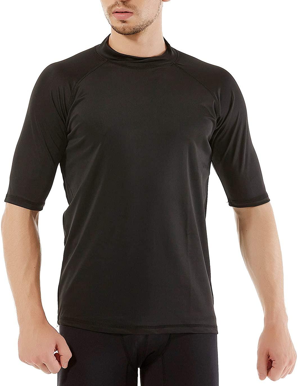 REMEETOU Men's Swim Shirt,Rash Guard Short Sleeve T-Shirt, Surf UPF50 Tee for Regular Size