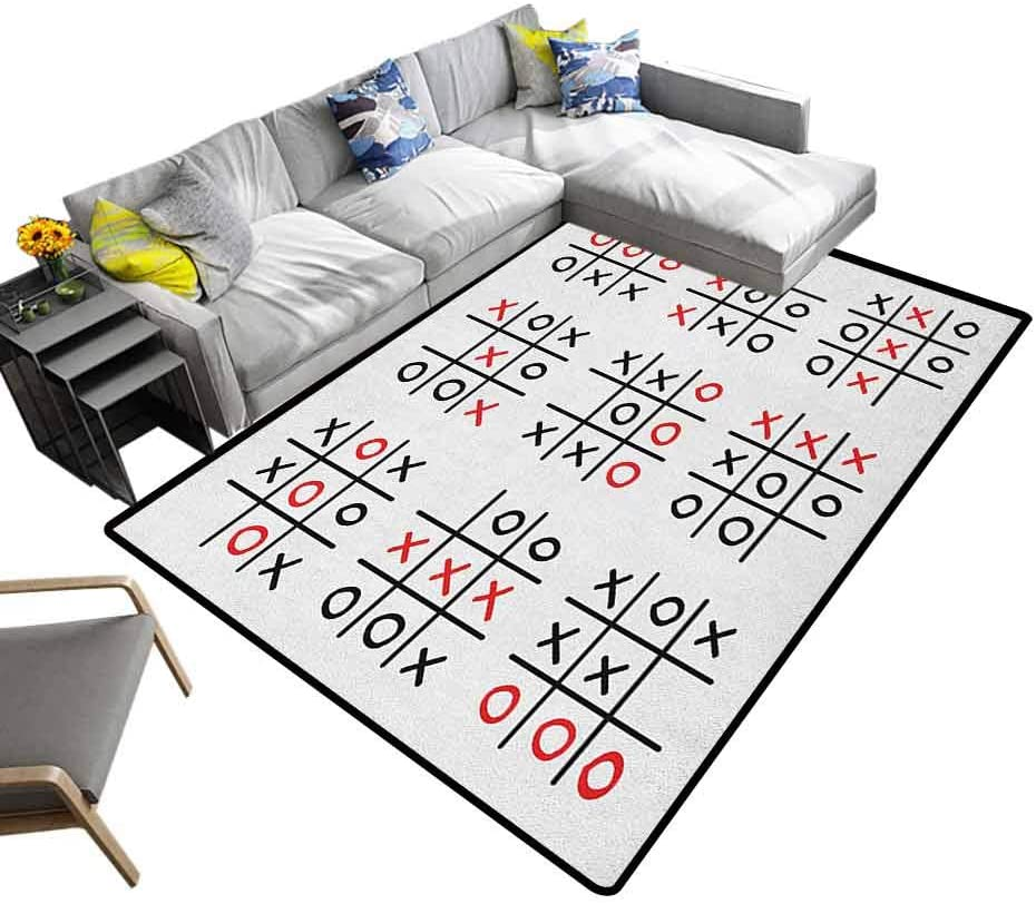 Nursery Area Rug Xo, Children's Playing Mat Doodle Style Tic Tac Toe Game Set Table with X and O Letters Artistic Design for Baby Children Playroom Women Yoga Black White and Red, 6.5 x 10 Feet