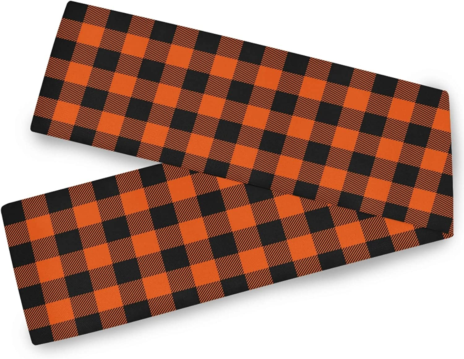 Oarencol Halloween Buffalo Check Table Runner Black Orange Plaid Double Sided 13x70 inch Polyester Table Cloth
