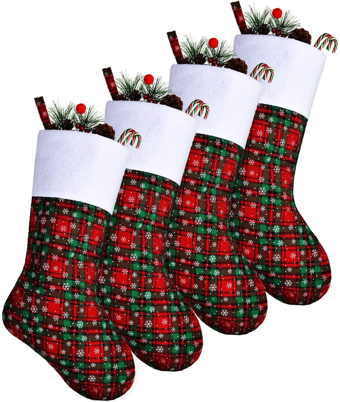 4 Pieces Christmas Stockings Plaid Snowflake Print Stockings Fireplace Hanging Stockings for Xmas Home Decoration (Color Set 2)
