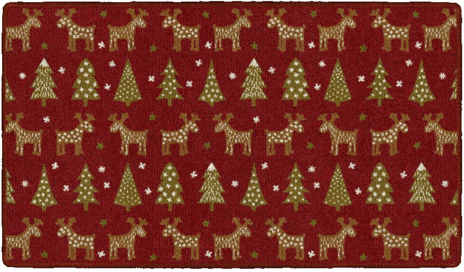 Brumlow Mills Holiday Delight Washable Festive Christmas Trees and Reindeer Indoor or Outdoor Holiday Rug for Living or Dining Room, Bedroom and Kitchen Area, 20