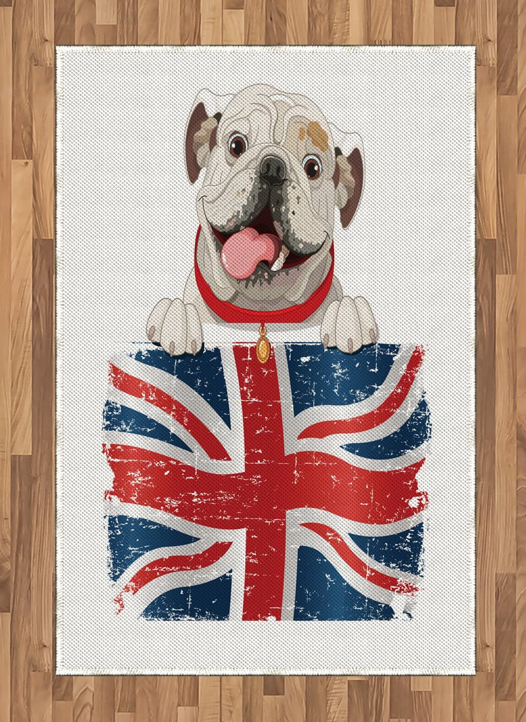Ambesonne English Bulldog Area Rug, Happy Pet Bulldog Holding a Union Jack Flag of The Britain, Flat Woven Accent Rug for Living Room Bedroom Dining Room, 4' X 5.7', Cream Navy Blue Red