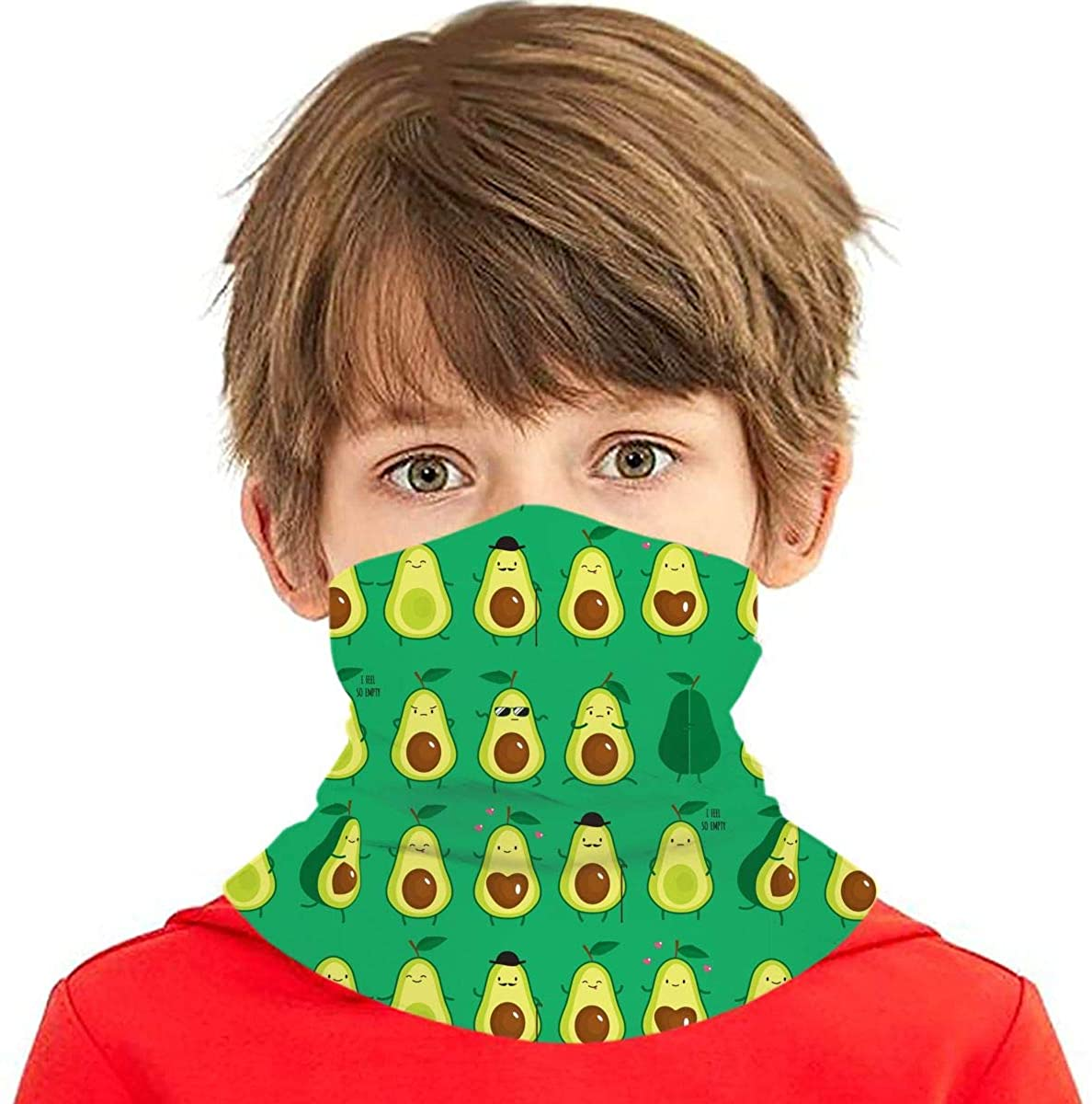 Dujiea Kids Bandanas Face Mask, Cute Cartoon Avocado Dust Sun UV Protection Neck Gaiter Multifunctional Balaclava Face Scarf Summer Tube Headband Lightweight for Boys Girls Outdoors
