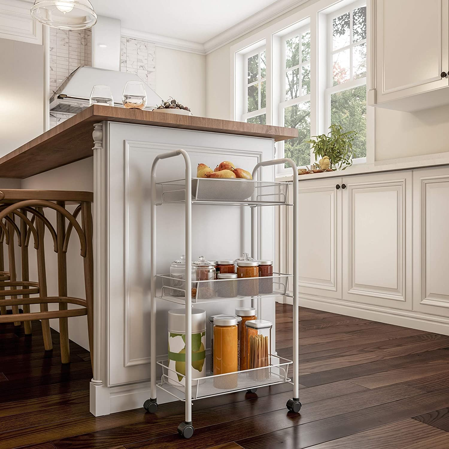 3-Tiered Narrow Rolling Storage Shelves - Mobile Utility Organizer for Kitchen Bathroom Laundry and More White Casual Metal Plastic