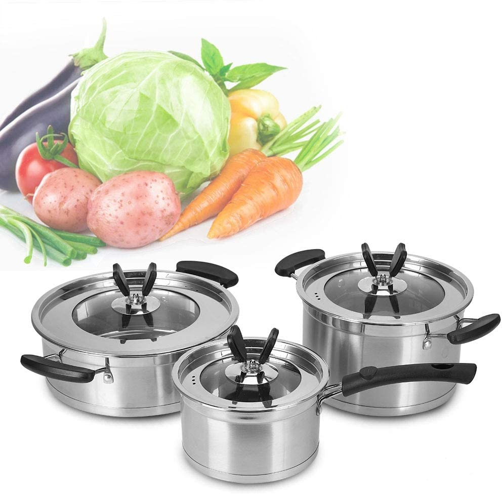 Stainless Steel Pot Frying, 3Pcs Kitchen Supplies Soup Pot Frying Milk Pan Frying Pot Milk Soup Pot with Compound Bottom and Lip for Kitchen