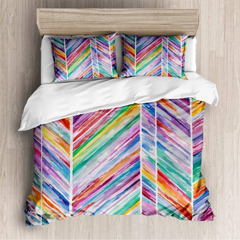 Yumhi Twin Size Duvet Cover Set for Kids Girls Boys Color Stripes Modern 2PCS Bedding Set Including 1 Duvet Cover 1 Pillow Sham Without Comforter