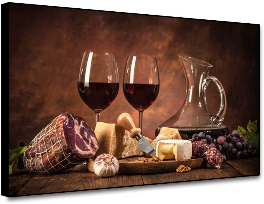 Yongto Canvas Wall Art for Kitchen Dining Room Restaurant Modern Wall Art Painting Prints Red Wine Glass Grapes Bread Meat Pictures on Vintage Background Canvas Wall Art Decoration 10x8 Inch Framed