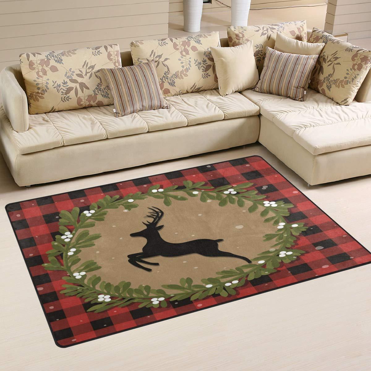 ALAZA Merry Christmas Reindeer Buffalo Plaid Non Slip Area Rug 2' x 3', Modern Floor Rugs Mat for Living Room Bedroom Dinning Room Home Decor