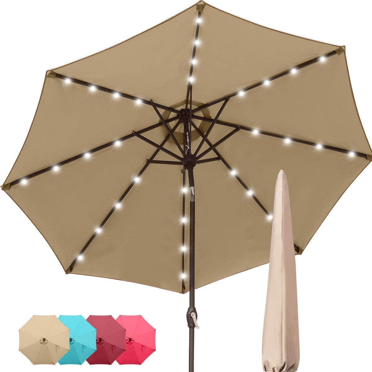 Quictent 9Ft Patio Umbrella 32 Solar LED Lighted Outdoor Garden Table Canopy Market Umbrella Pool Backyard with Ventilation 3 Years Non-Fading Top 8 Ribs 240G Yarn-Dyed Fabric (Tan)