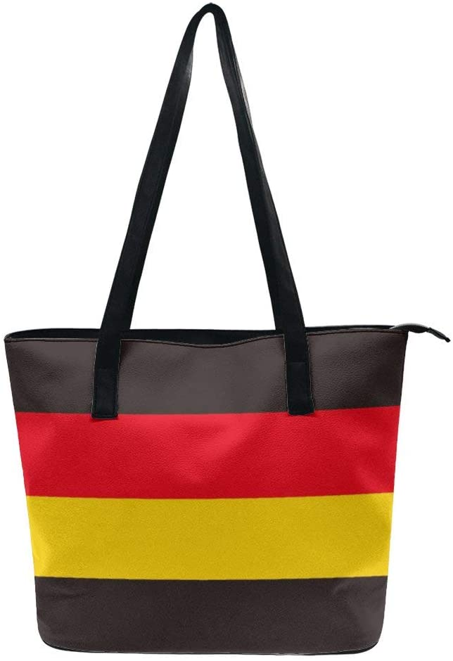 NiYoung Germany Flag Strapes Handbags for Women PU Leather Tote Shoulder Bag Waterproof Big Capacity Zippered Shoulder Handbag for Travel Work School Shopping Beach