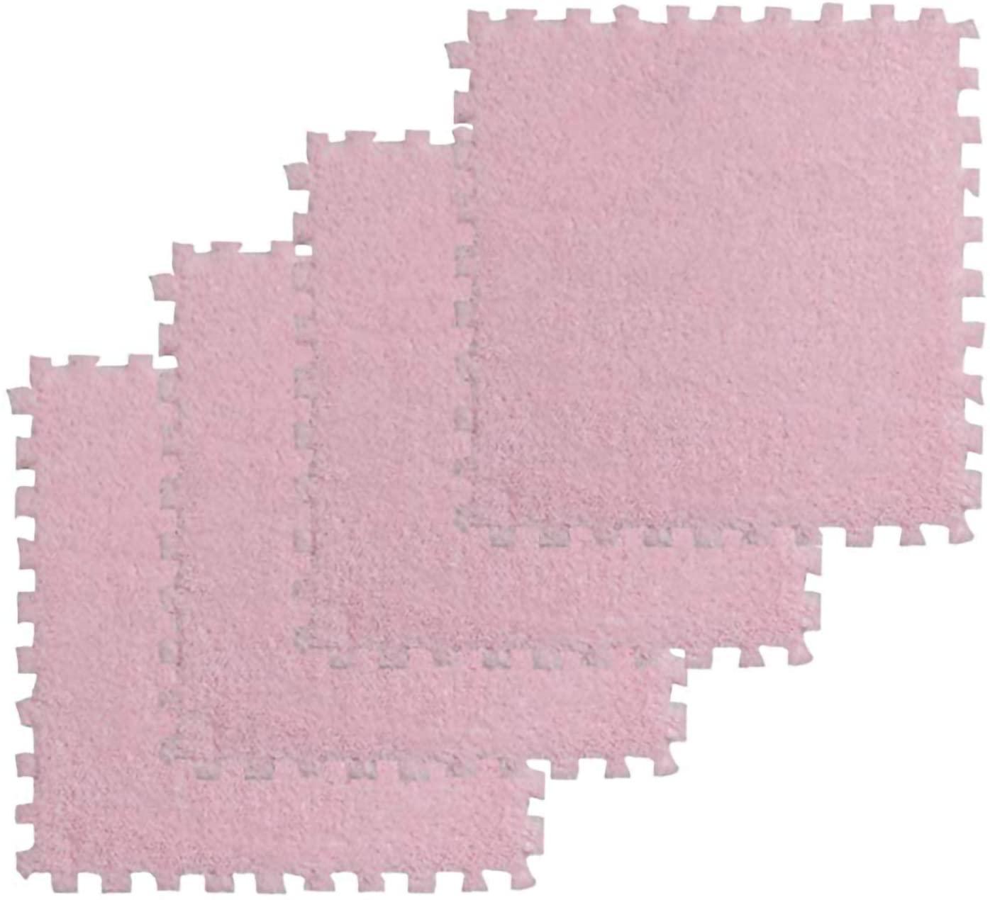 Eanpet Puzzle Mat Shag Area Rug Foam Interlocking Floor Mats for Living Room Bedroom Nursery Playroom Home Decor - Boys Girls Crawling Pad Fluffy Pets Carpet (12pcs, 2', Pink)