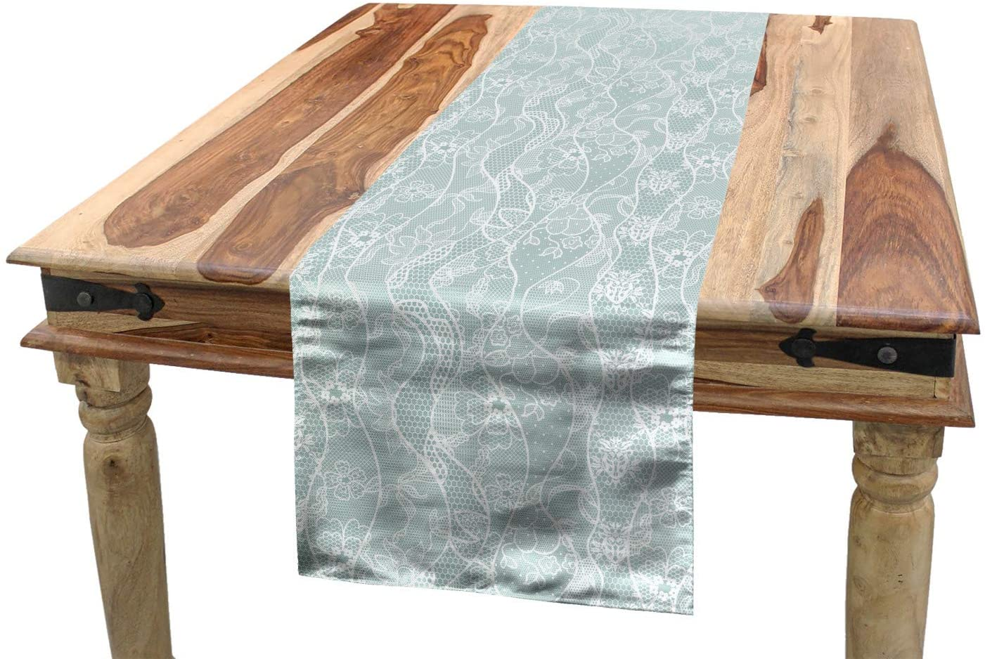 Ambesonne Vintage Table Runner, Lace Pattern Backdrop with Floral Composition Victorian Inspirations Wedding, Dining Room Kitchen Rectangular Runner, 16