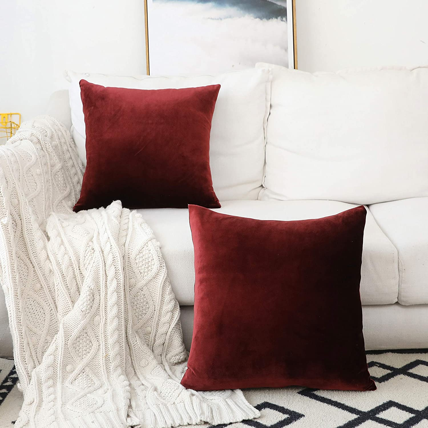 Home Brilliant Red Throw Pillow Covers Christmas Decorative Velvet Pillowcases for Sofa Chiar Couch Holiday Decoration, 18 x 18 inch(45cm), Set of 2, Brick Red