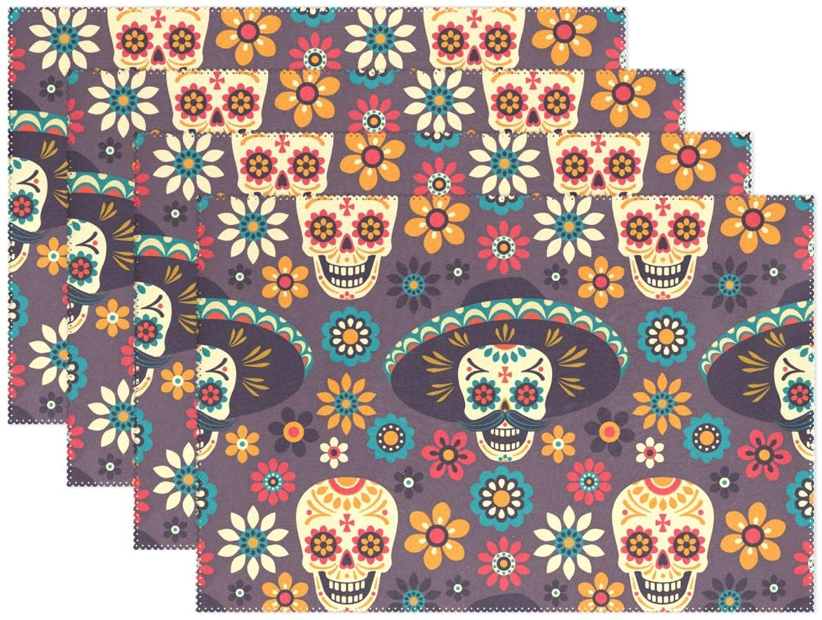 WOOR Dark Gothic Style Evil Skull Halloween Placemats for Dining Table Heat Resistant Kitchen Table Decor Washable Table Mats Set of 4