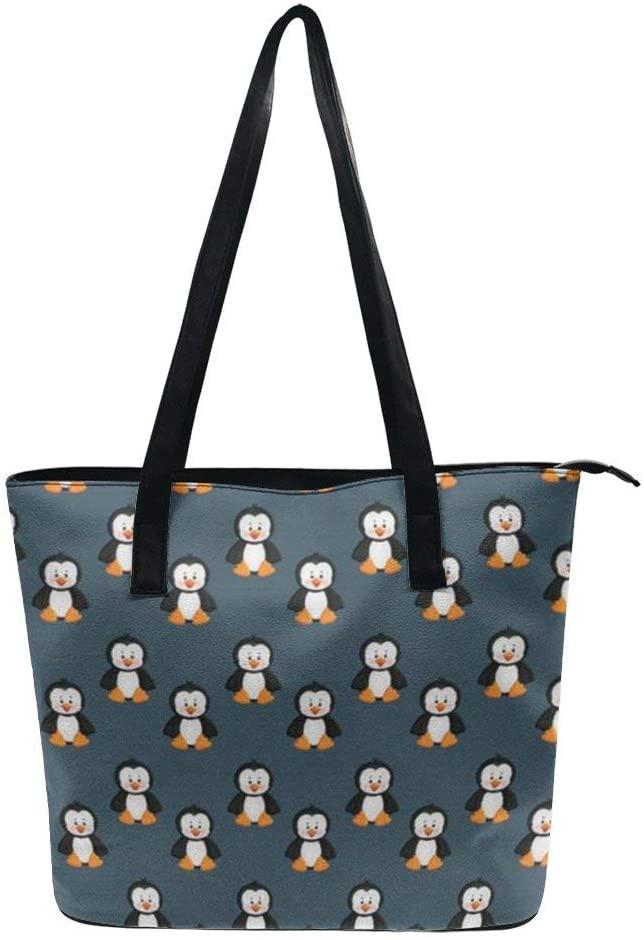 NiYoung Cute Funny Animal Penguin Handbags for Women PU Leather Tote Shoulder Bag Waterproof Big Capacity Zippered Shoulder Handbag for Travel Work School Shopping Beach