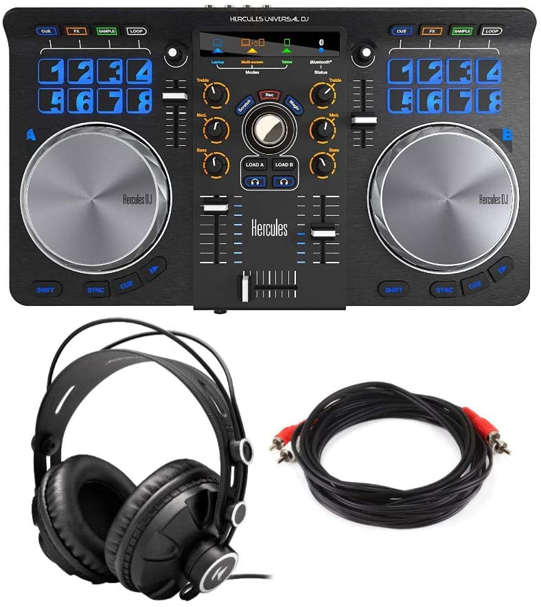 Hercules Universal DJ Controller 2-Channel Bluetooth + USB DJ Controller with Tablet & Smartphone Integration w/DJ Software DJUCED Bundle: Closed-Back Headphones & Male-to-Male RCA Cable (3 Items)