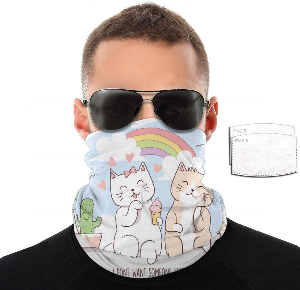 Headwear Unisex Rainbow Cat Variety Face Towel Headbands Insert Carbon Filter Bandana Neck Gaiter Face Protector For Dust Outdoors