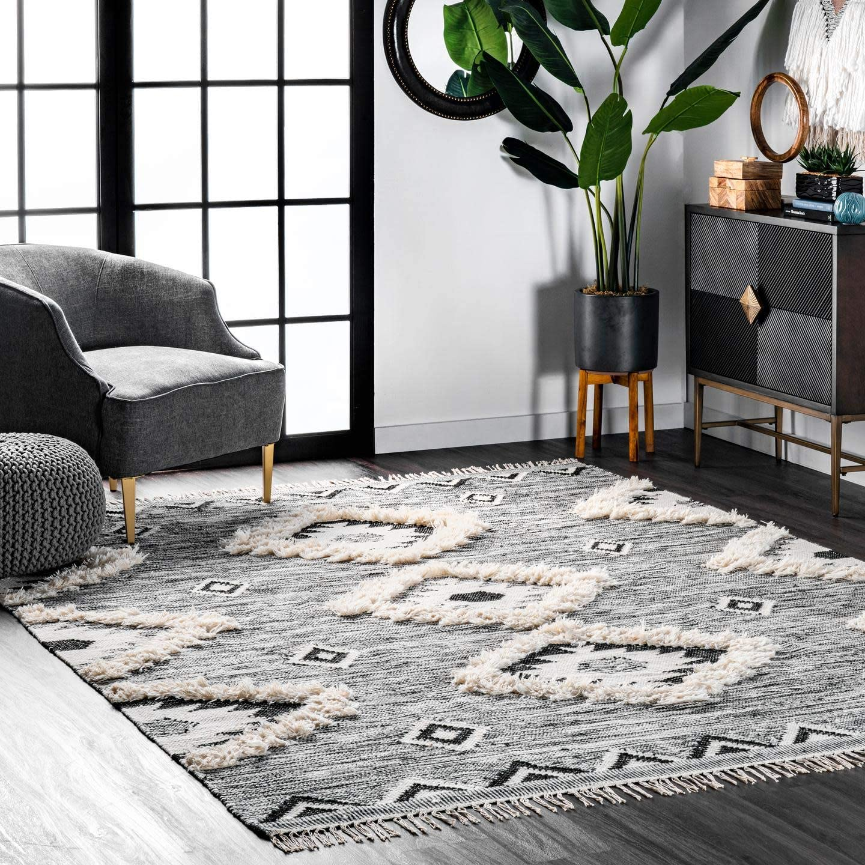 nuLOOM Moroccan Shag Fringe Wool Rug, 4 x 6, Grey