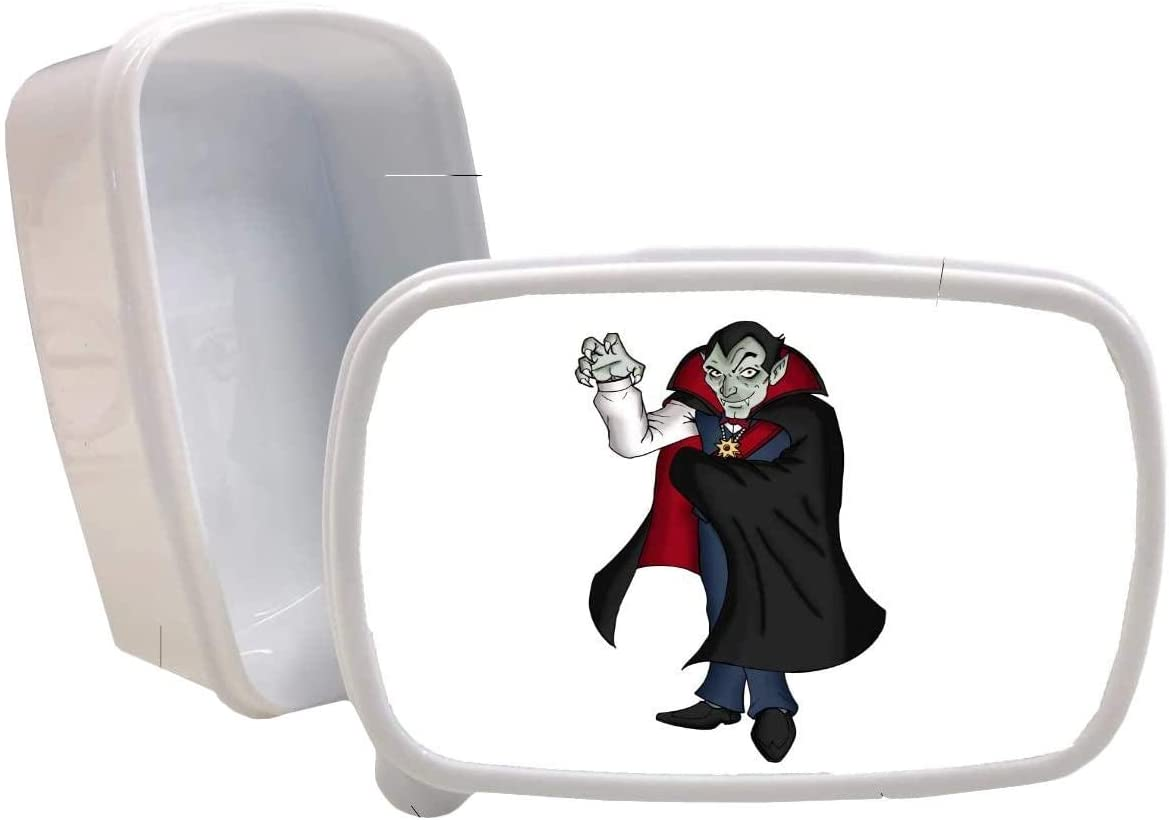 Vampire Dracula Printed White Plastic Lunch Box Food Dry Storage Container Stash
