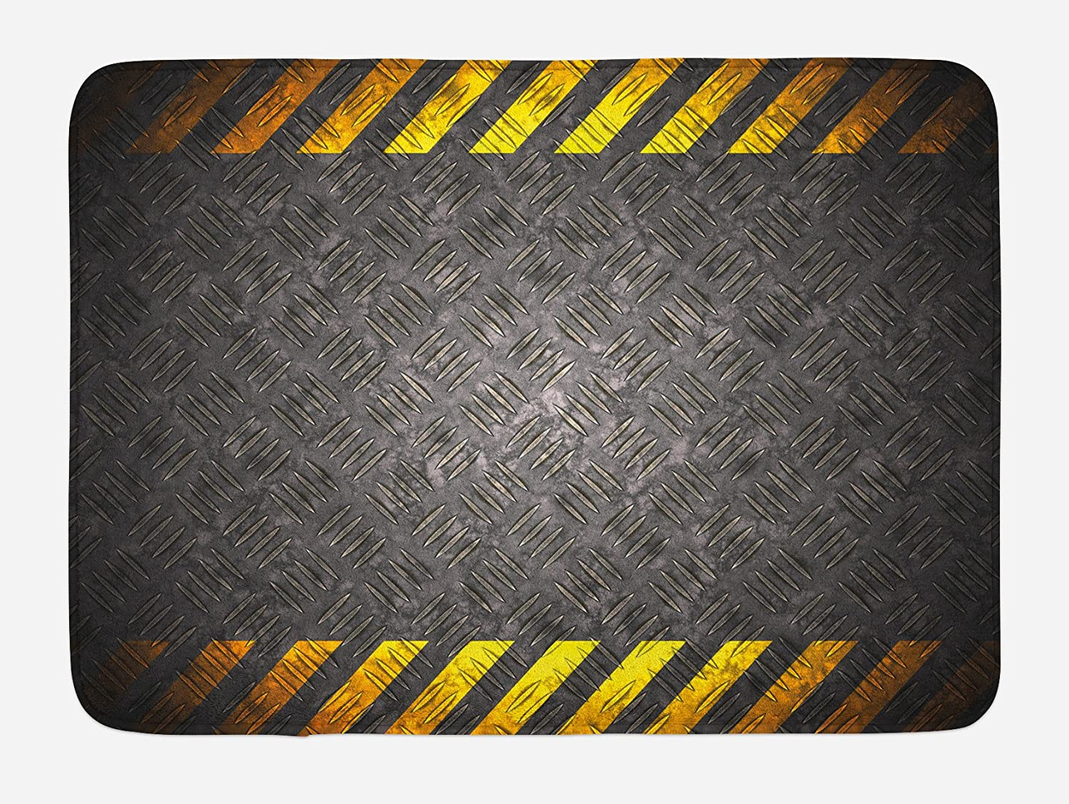 Ambesonne Construction Bath Mat, Abstract Background with Caution Tape Inspired Frame Borders, Plush Bathroom Decor Mat with Non Slip Backing, 29.5