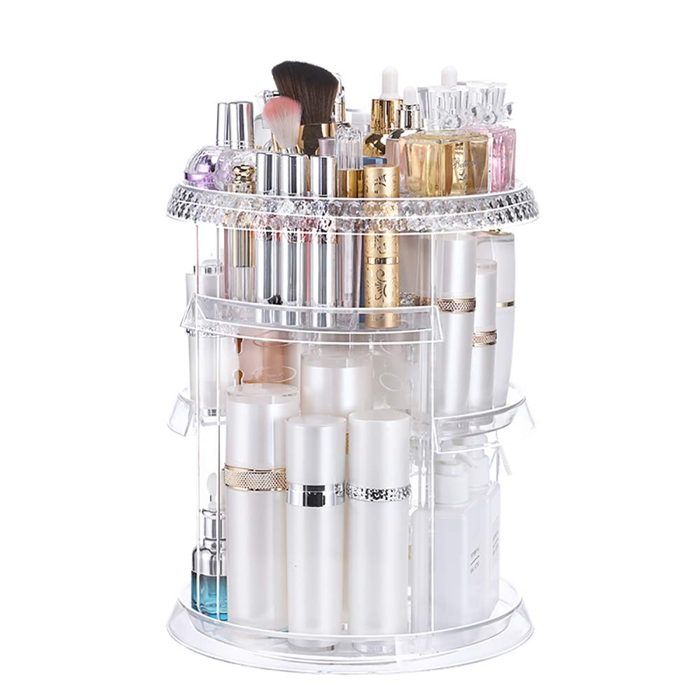 Clear 360 Spinning Makeup Display Organizer, 7 Layers Storage Easily Organize Different Types of Cosmetics - Looks Elegant Sitting on Your Vanity, Bathroom Counter or Dresser