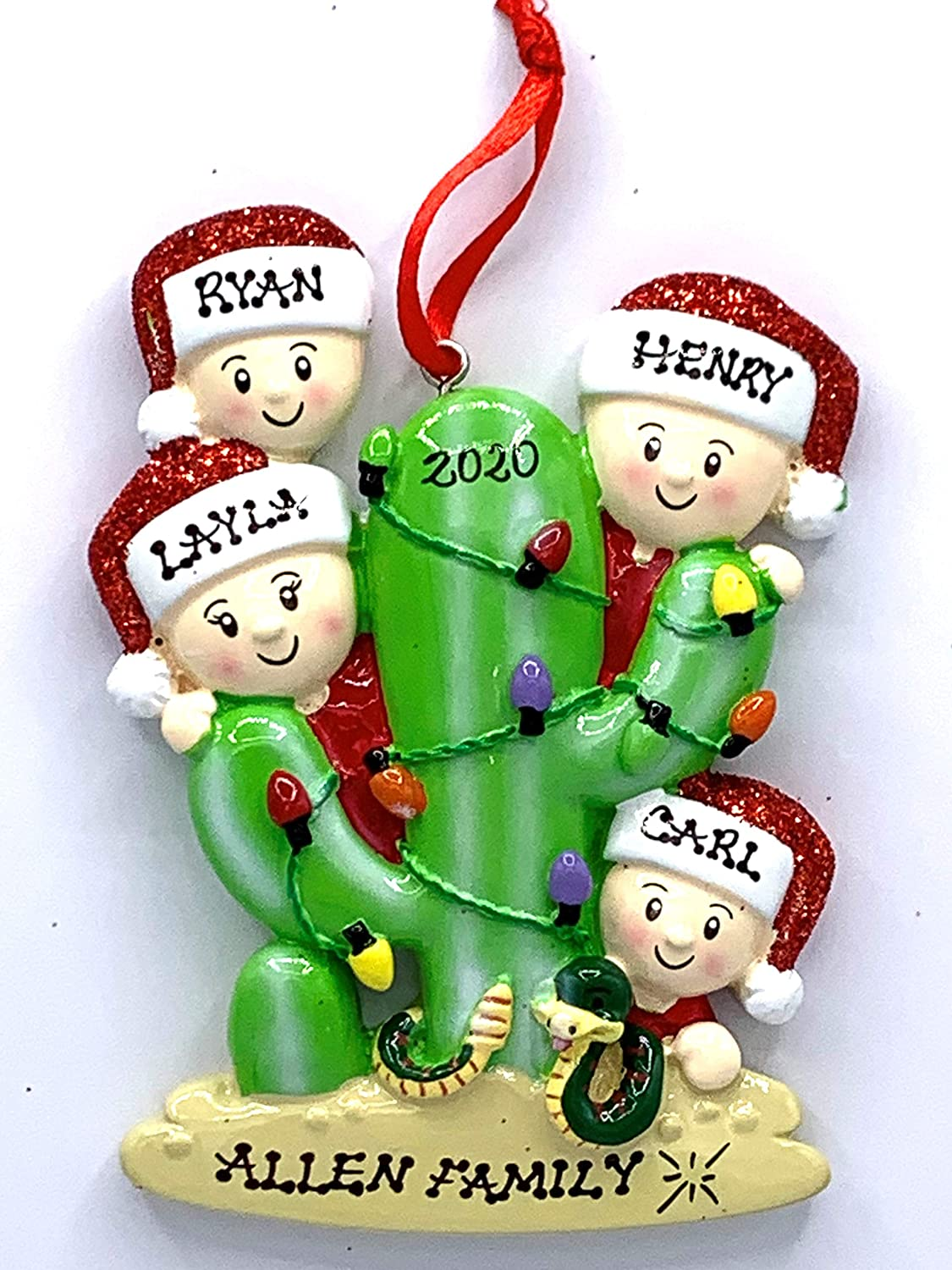 Polar X Personalized Cactus Tree Couple and Cactus Tree Family Christmas Ornament (Family of 4)