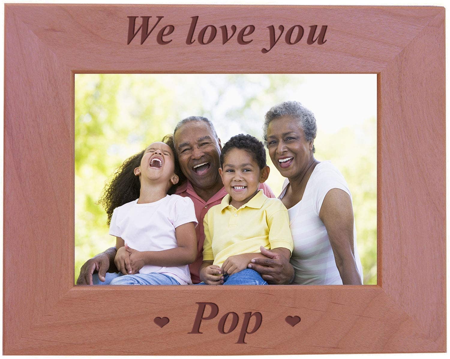 CustomGiftsNow We Love You Pop - Engraved Wood Picture Frame (5x7 Horizontal)