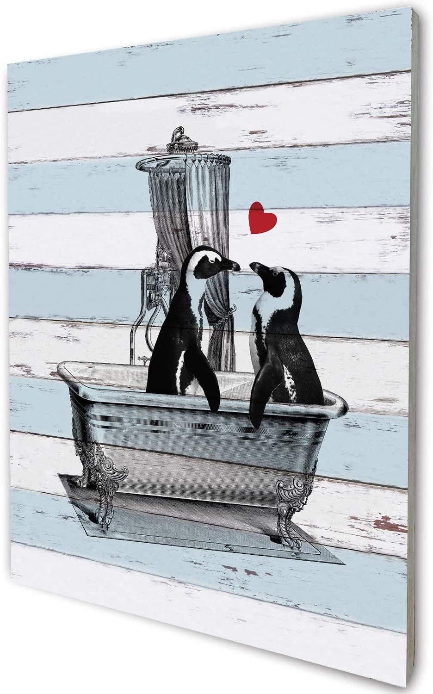 akeke Romantic Penguin Love Vintage Rustic Farmhouse Wood Wall Art Decor, Funny Bathroom Wall Art, Guest Bathroom Wall Decor, Funny Thanksgiving, 8