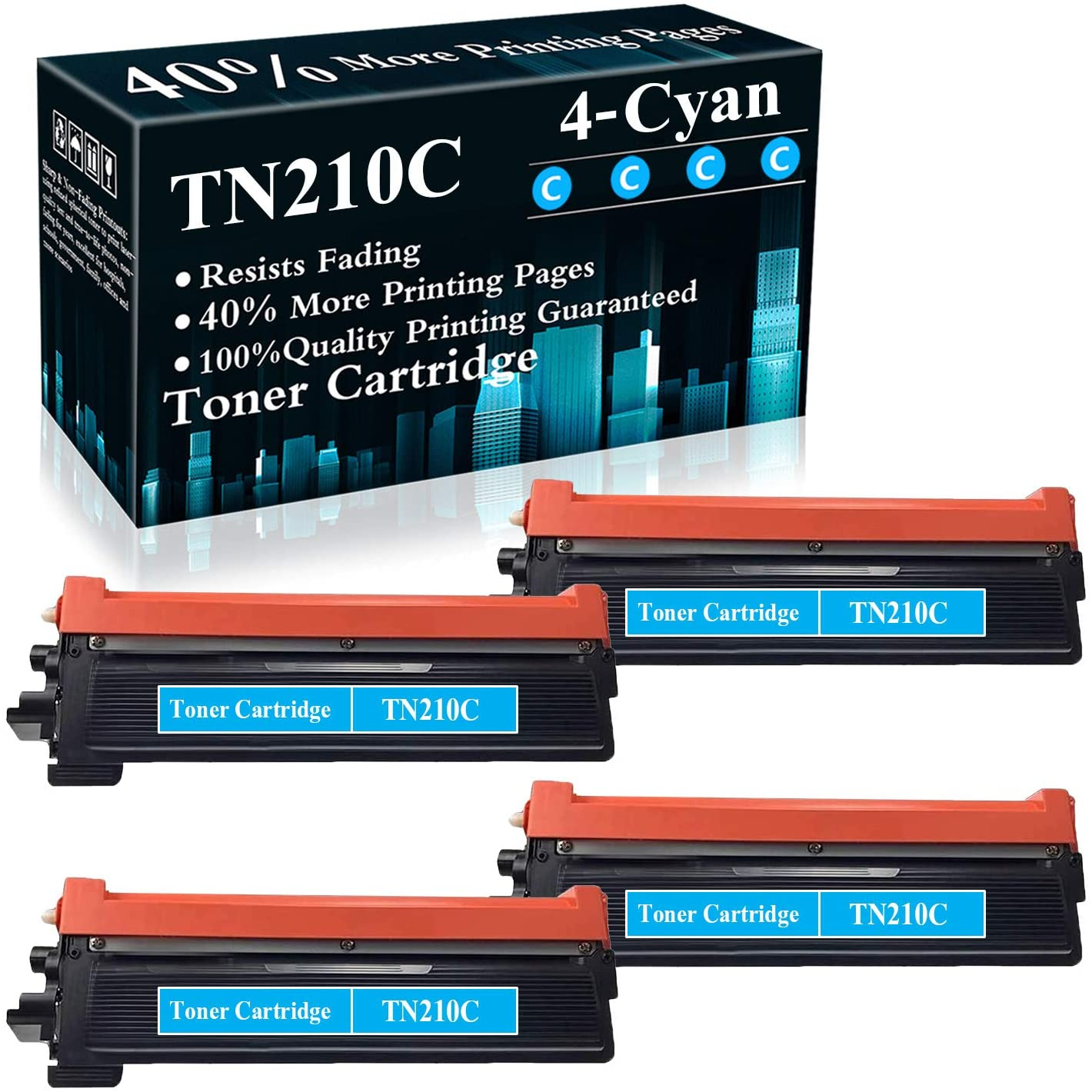 4 Cyan TN210 TN210C Compatible Toner Cartridge Replacement for Brother HL-3040CN 3045CN 3070CW 3075CW 8070 MFC-9010CN 9120CN 9125CN 9320CN/CW 9325CW DCP-9010CN Printer,Sold by TopInk